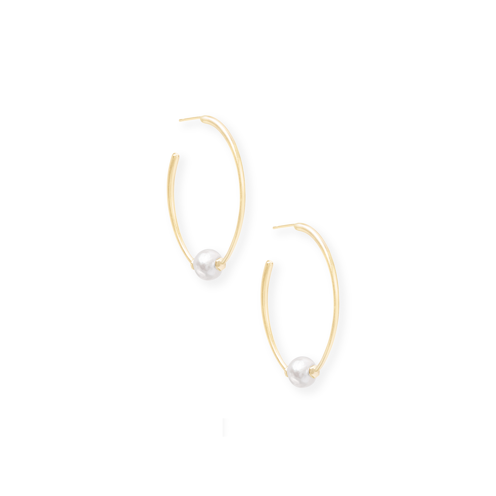 Womens Kendra Scott Regina Baroque Gold Hoop Earrings In Pearl - Brother's on the Boulevard