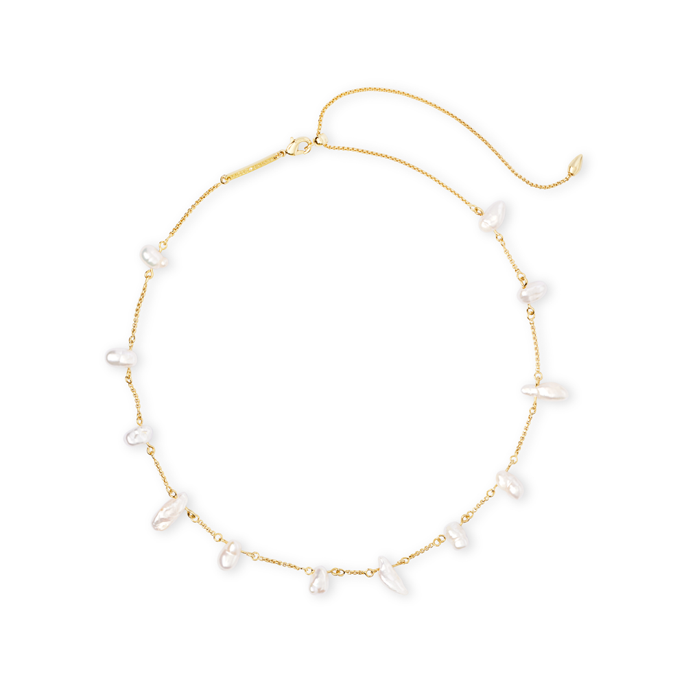 Womens Kendra Scott Krissa Baroque Gold Choker Necklace In Pearl - Brother's on the Boulevard