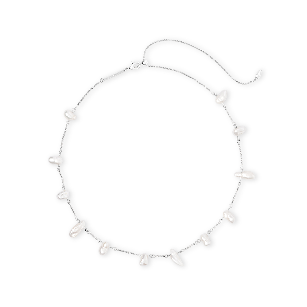 Kendra Scott Krissa Baroque Bright Silver Choker Necklace in Pearl
