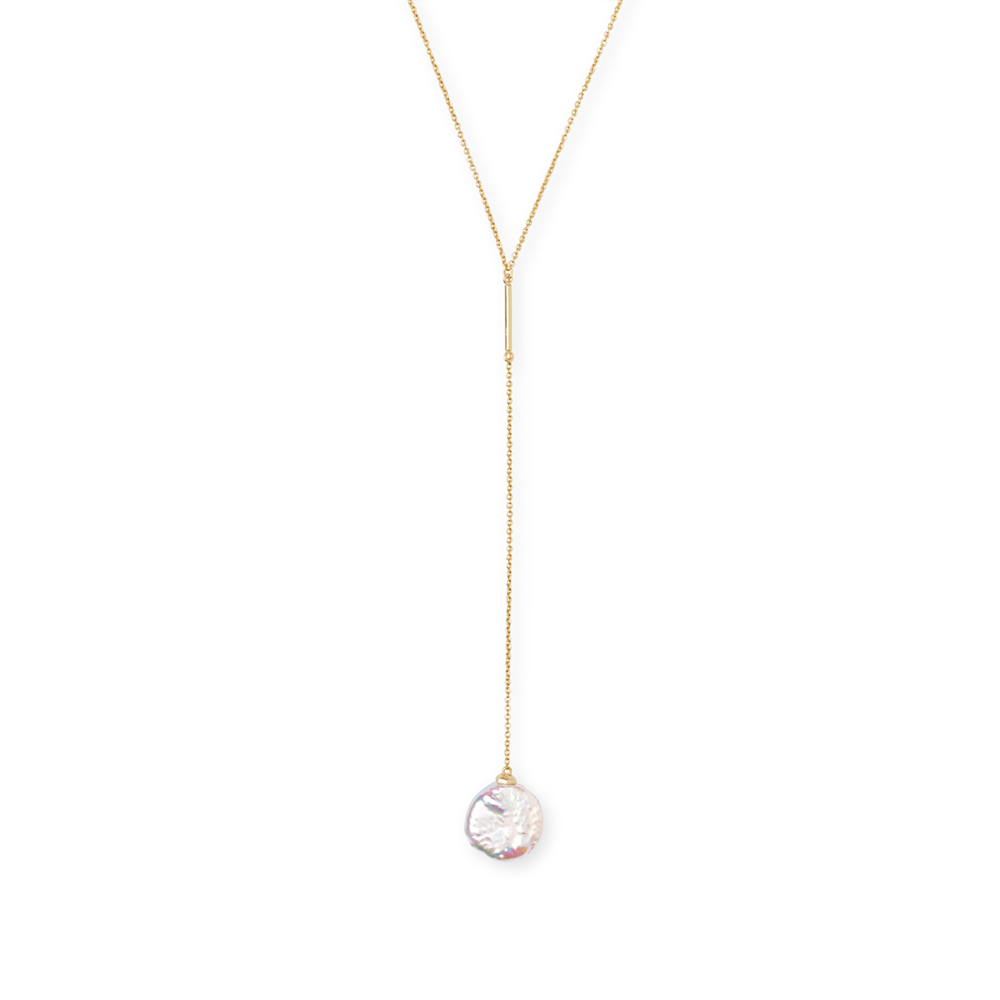 Womens Kendra Scott Andi Baroque Gold Y Necklace In Pearl - Brother's on the Boulevard