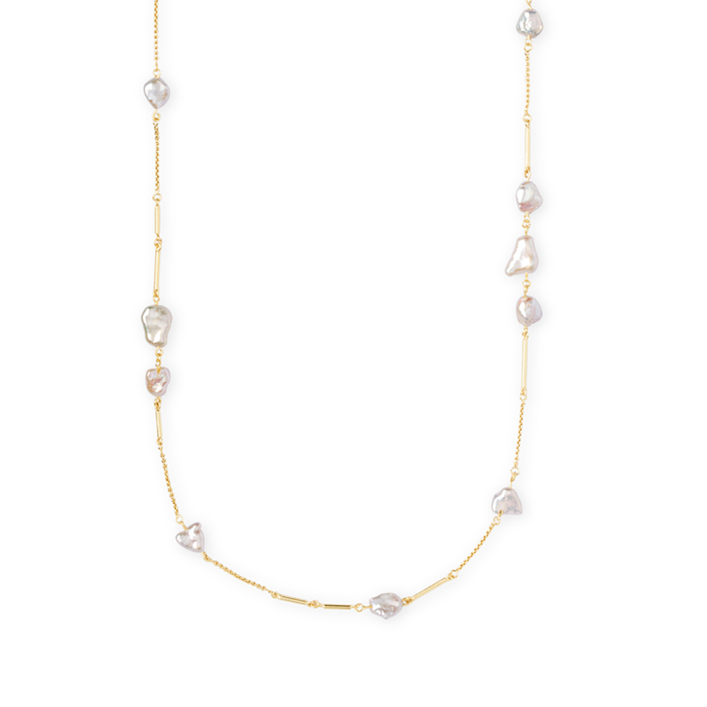 Womens Kendra Scott Sabrina Baroque Gold Long Necklace In Pearl - Brother's on the Boulevard