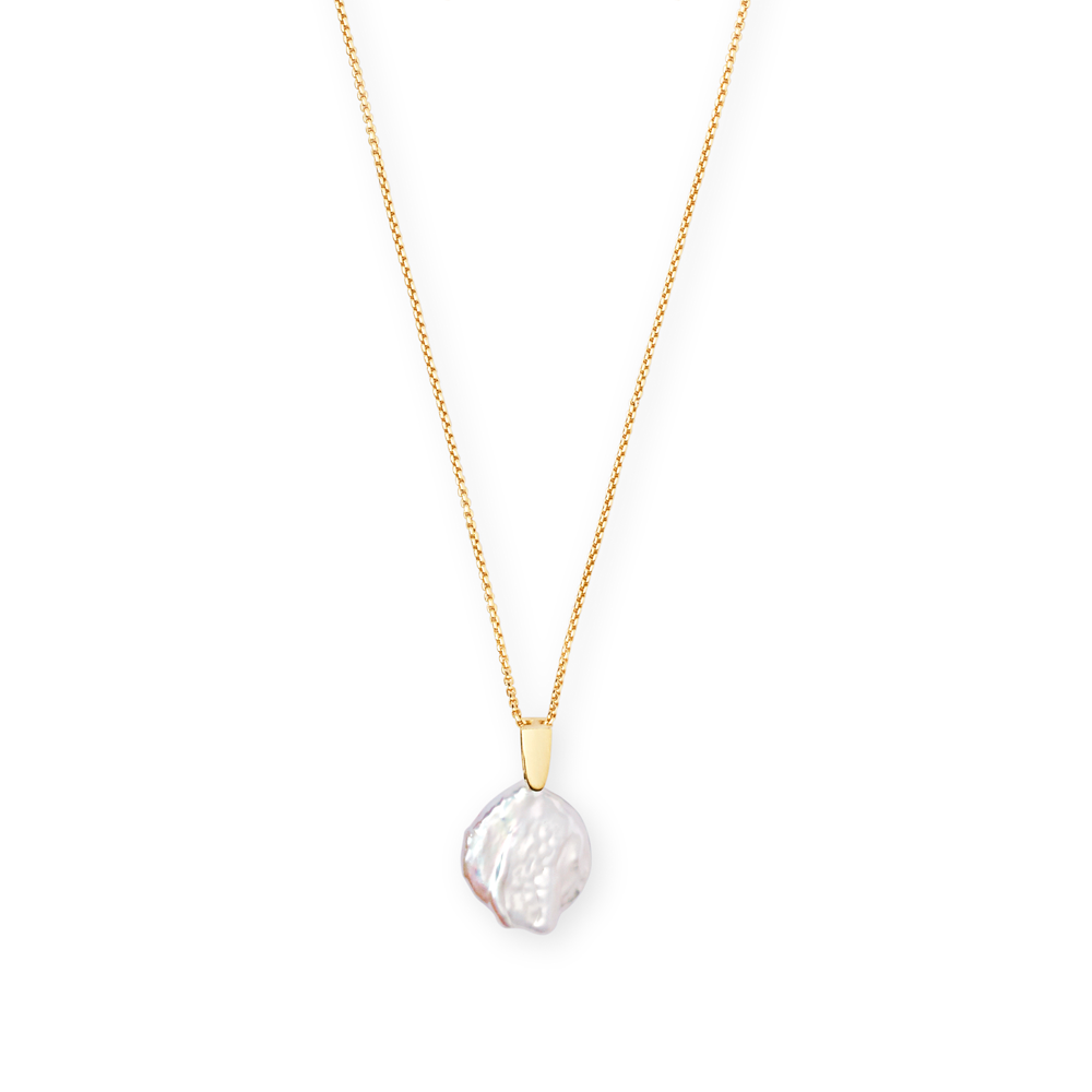 Kendra Scott Priscilla Baroque Gold Pendant Necklace In Pearl