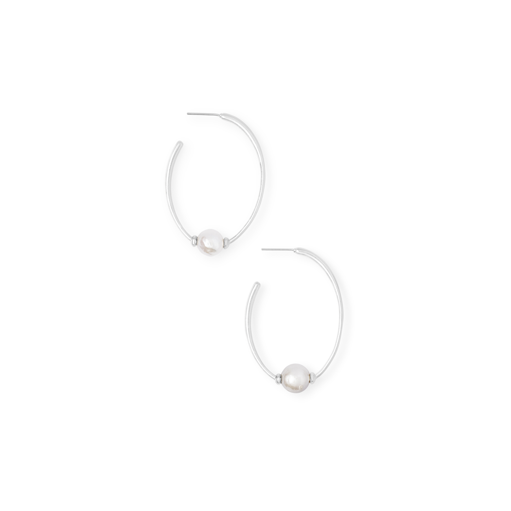 Womens Kendra Scott Regina Baroque Bright Silver Hoop Earrings In Pearl - Brother's on the Boulevard