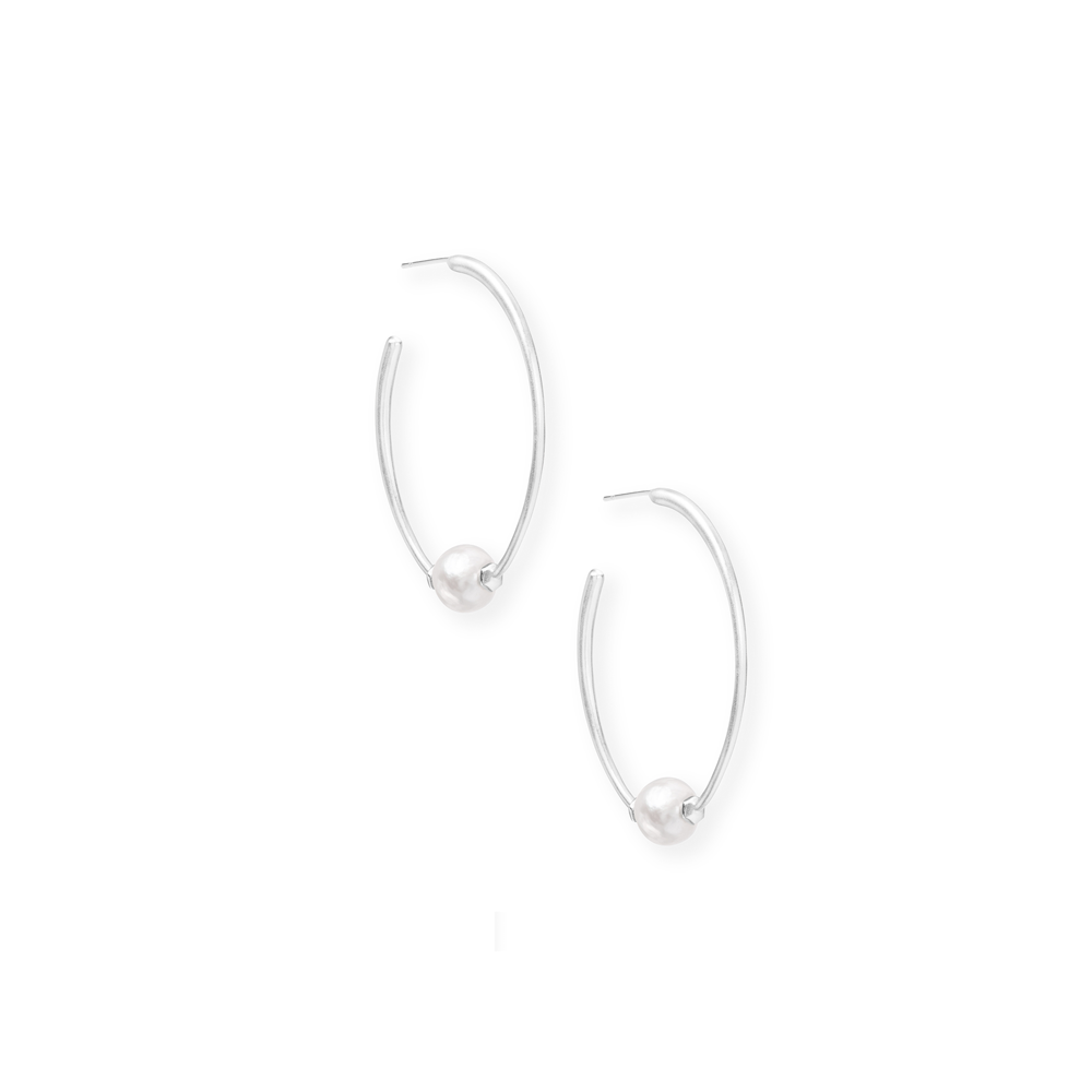 Kendra Scott Regina Baroque Bright Silver Hoop Earrings In Pearl