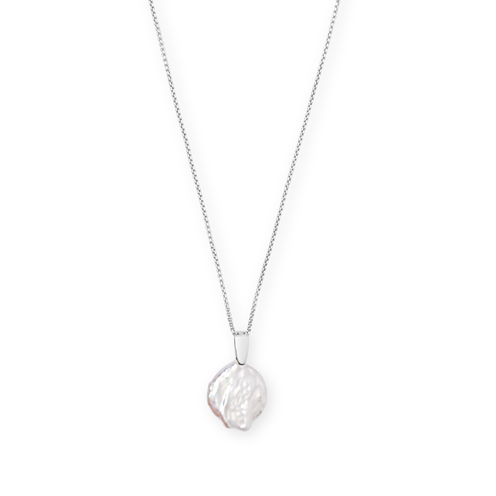 Kendra Scott Priscilla Baroque Bright Silver Pendant Necklace In Pearl