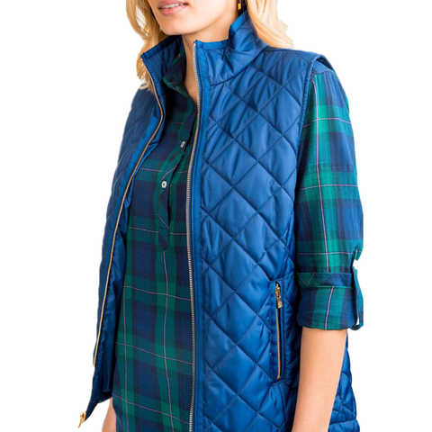 Southern Tide Quilted Vest in Blue Night