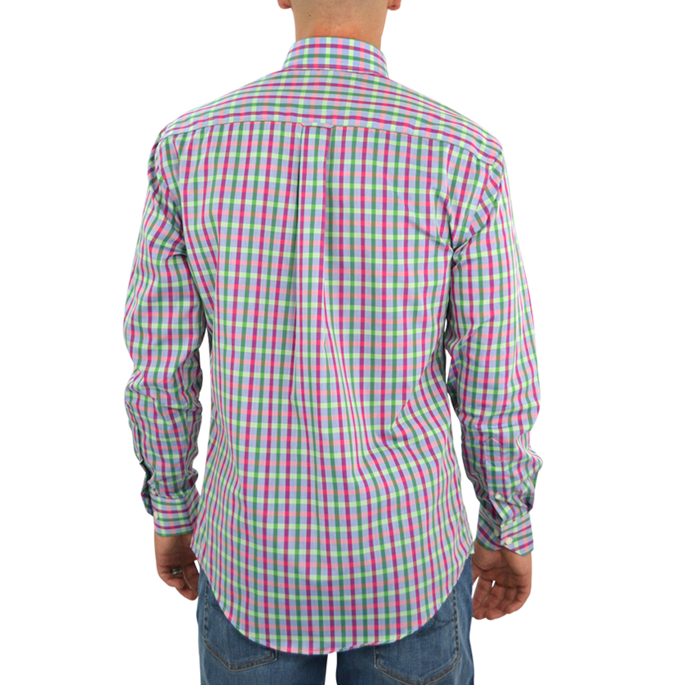 Mens Cotton Brothers Long Sleeve Button Down Sport Shirt in Green and Pink - Brother's on the Boulevard