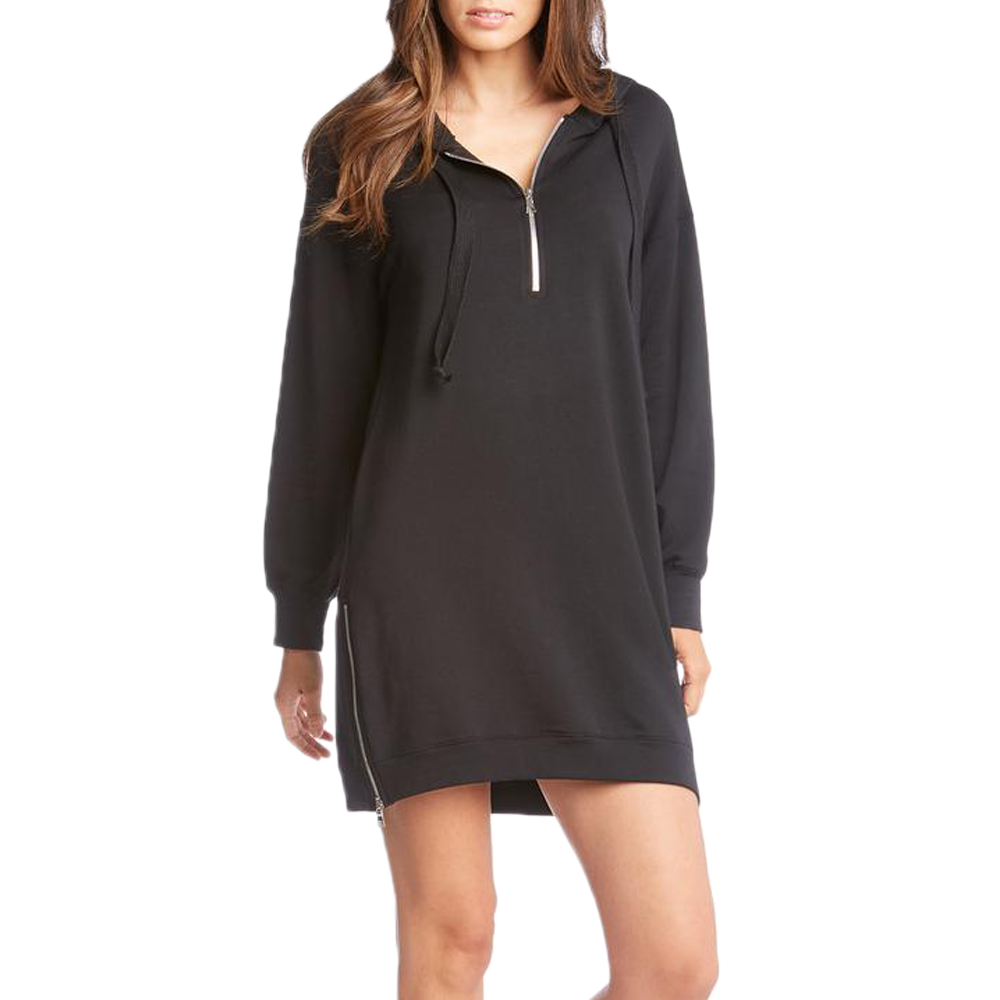 Womens Fifteen Twenty Zipper Sweatshirt Dress in Black - Brother's on the Boulevard