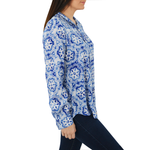 Womens Fifteen Twenty Snowflake Long Sleeve Button Down in Blue - Brother's on the Boulevard