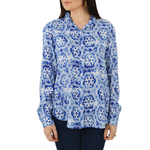 Fifteen Twenty Snowflake Long Sleeve Button Down in Blue