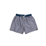 Southern Marsh Lattice Dockside Swim Trunk in Slate and Peach