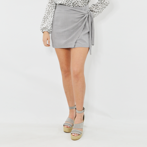 Womens Poche 1913 Stormie Linen Tie Front Mini Skirt in Light Grey - Brother's on the Boulevard
