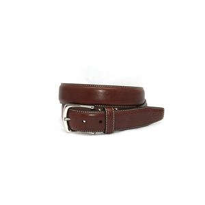 Mens Torino Burnished Tumbled Leather Belt in Brown - Brother's on the Boulevard