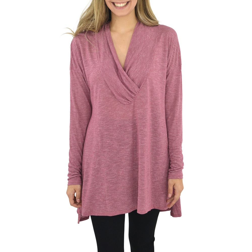 Michael Stars Brooklyn Jersey Cowl Neck Tunic in Rose