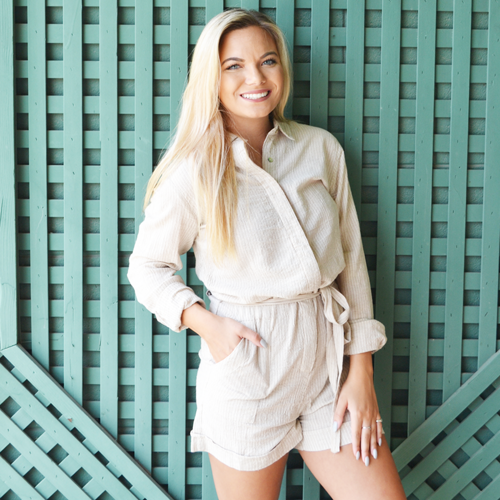 Poche 1913 Grace Long Sleeve Romper in Beige