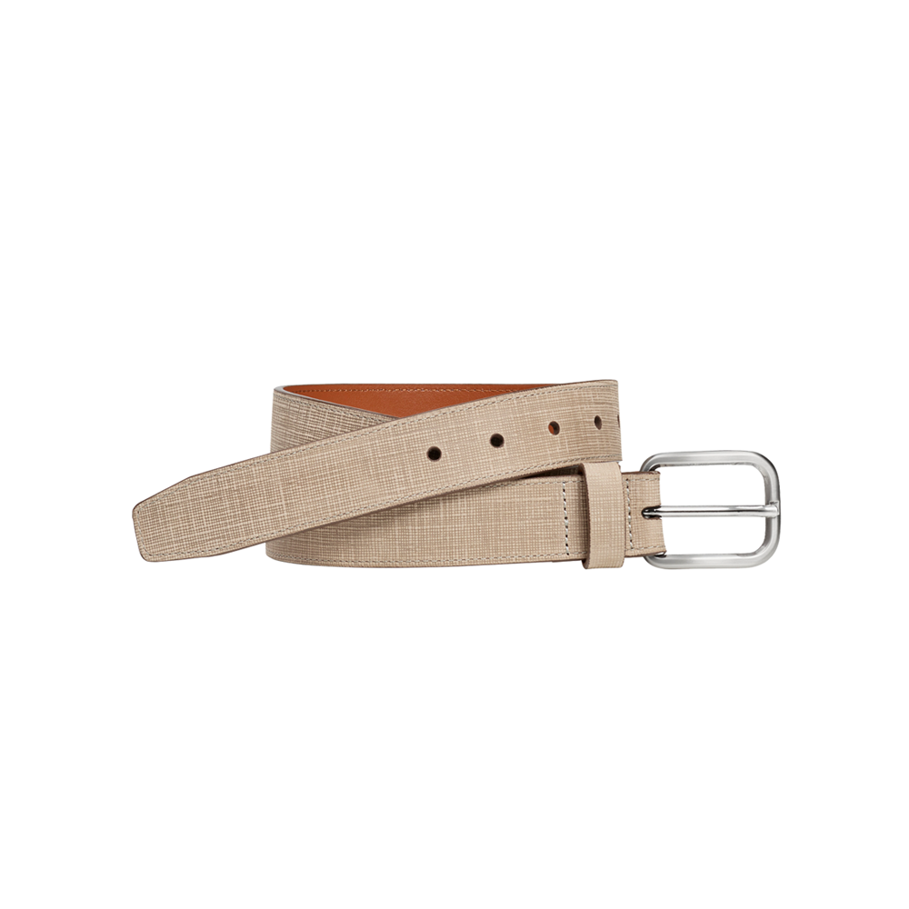 Johnston & Murphy Cross Hatch Embossed Belt in Camel