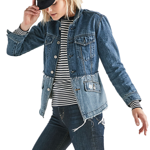 Womens Lucky Brand Remade Waisted Trucker Denim Jacket in Bolgart - Brother's on the Boulevard