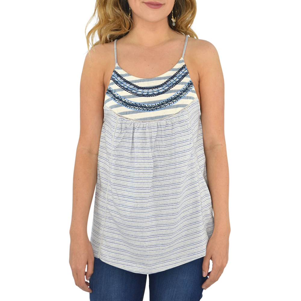 Womens Lucky Brand Stripe Mix Embroidered Tank in Blue and White - Brother's on the Boulevard