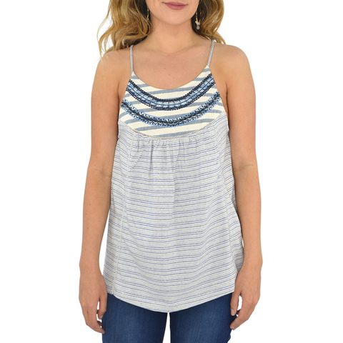 Lucky Brand Stripe Mix Embroidered Tank in Blue and White