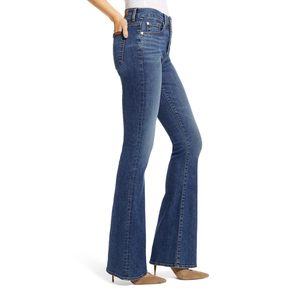 Womens 7 For All Mankind Ali High Waist Classic Flare Jean in Blue Monday - Brother's on the Boulevard