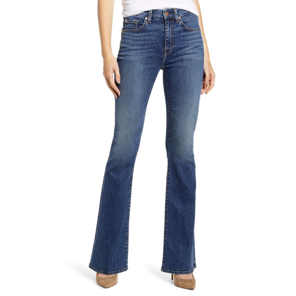 7 For All Mankind Ali High Waist Classic Flare Jean in Blue Monday