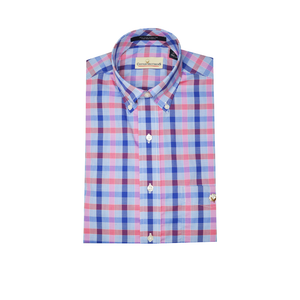 Mens Cotton Brothers Short Sleeve Performance Button Down in Pink and Blue - Brother's on the Boulevard