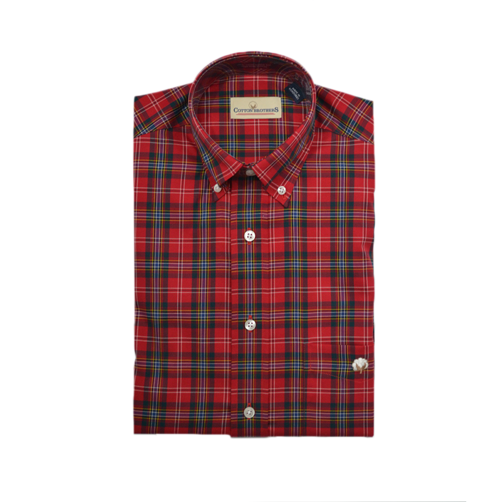 Mens Cotton Brothers Long Sleeve Button Down Shirt in Red - Brother's on the Boulevard