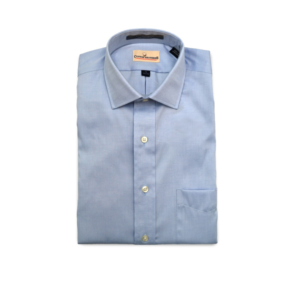 Mens Cotton Brothers Long Sleeve Spread Collar Dress Shirt in Blue - Brother's on the Boulevard