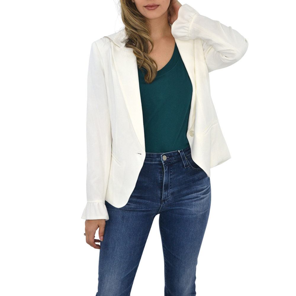 Catherine Kate Mia Crepe Blazer in Ivory