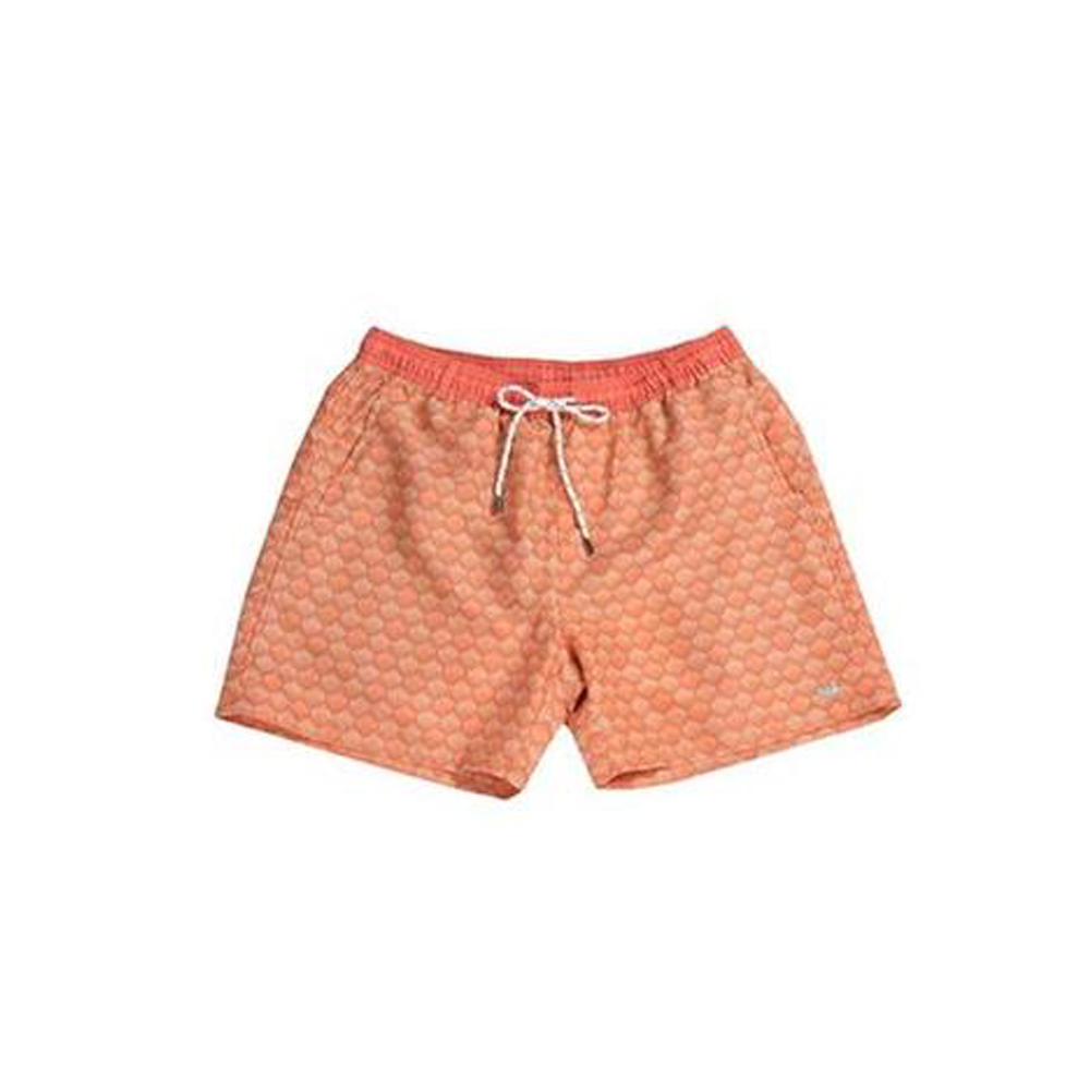 Mens Southern Marsh Seashell Dockside Swim Trunk in Coral - Brother's on the Boulevard
