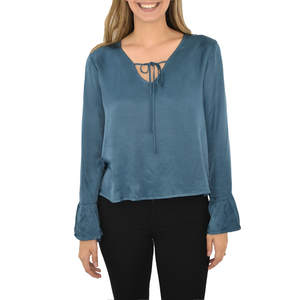 Womens Catherine Kate Bell Sleeve Blouse in Blue - Brother's on the Boulevard