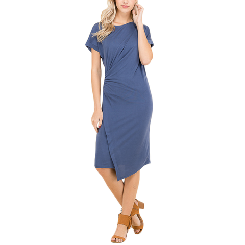 Womens Poche Faux Wrap Dress in Denim - Brother's on the Boulevard