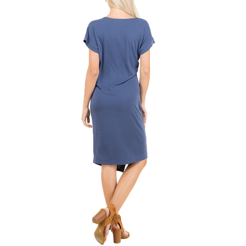 Poche Faux Wrap Dress in Denim
