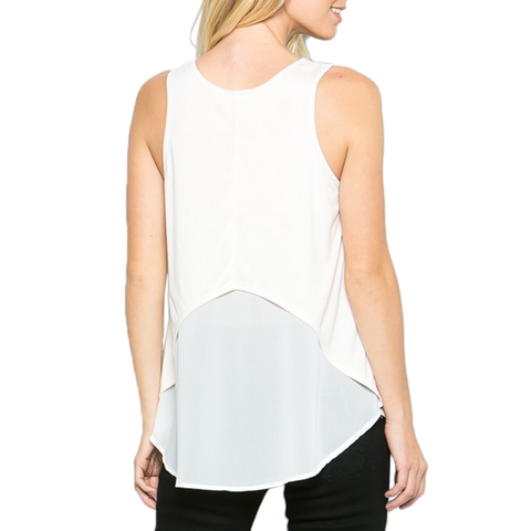 Poche 1913 Tank with Layered Back in Off-White