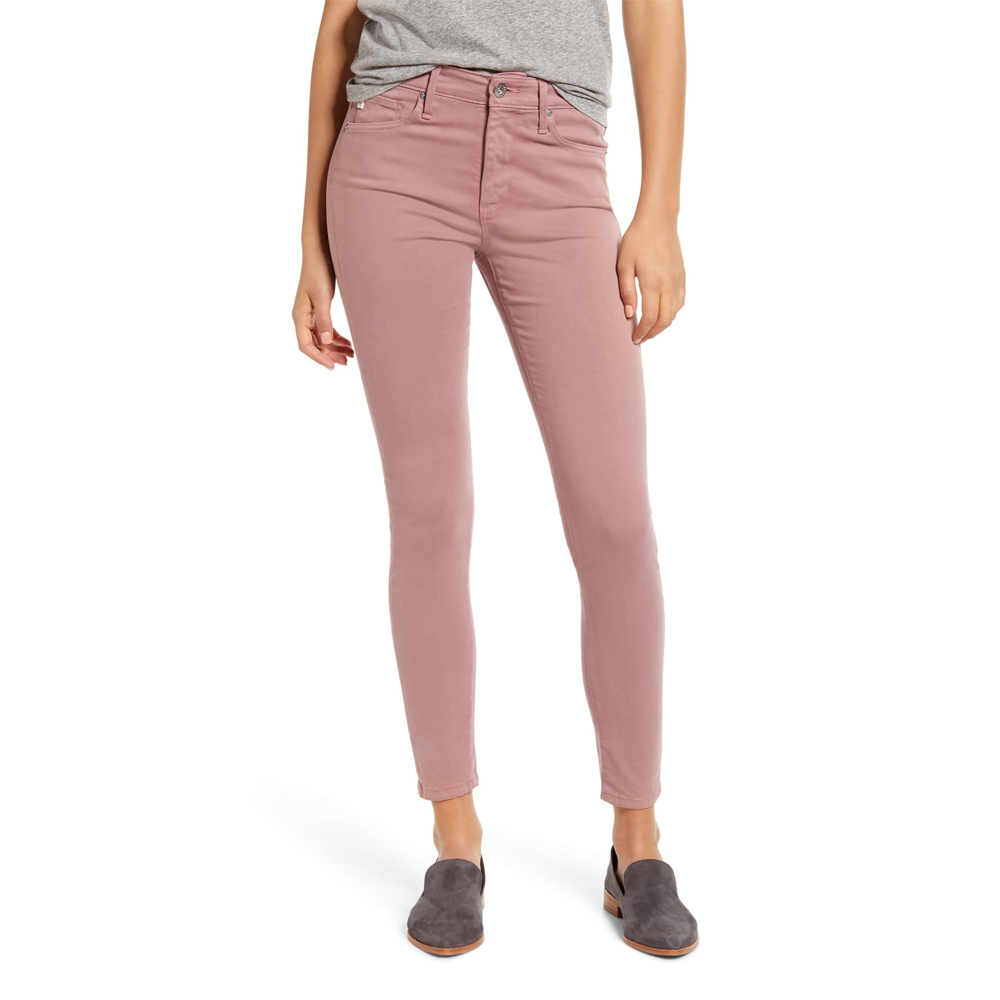 AG Jeans The Farrah Sateen High Rise Skinny Ankle in Autumn Rose