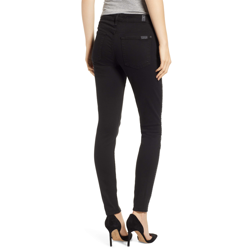 Womens 7 For All Mankind B(air) Ankle Skinny Jean in Black Coated - Brother's on the Boulevard