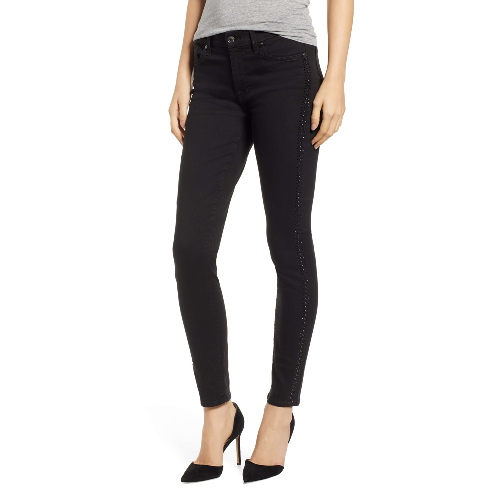 7 For All Mankind B(air) Mid Rise Ankle Skinny in Black Coated