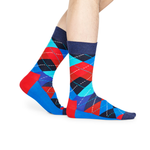 Happy Socks Argyle Sock in Blue and Red