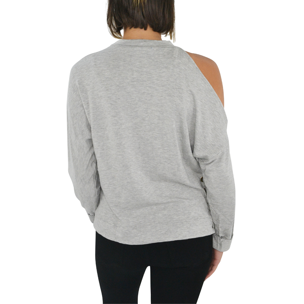 Womens Ella Moss Ashlee Lace Up Sweatshirt in Heather Grey - Brother's on the Boulevard