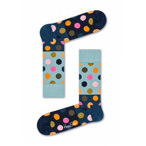 Mens Happy Socks Big Dot Block Sock in Navy Multi - Brother's on the Boulevard