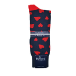 Byford in London Hearts Socks in Navy