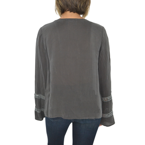 Womens Maven West Long Sleeve Bell Round Neck Shirt In Stone - Brother's on the Boulevard