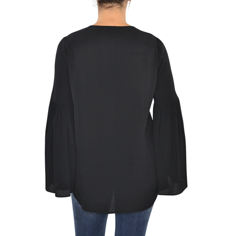 Fifteen Twenty Bell Sleeve Lace Up Top in Black