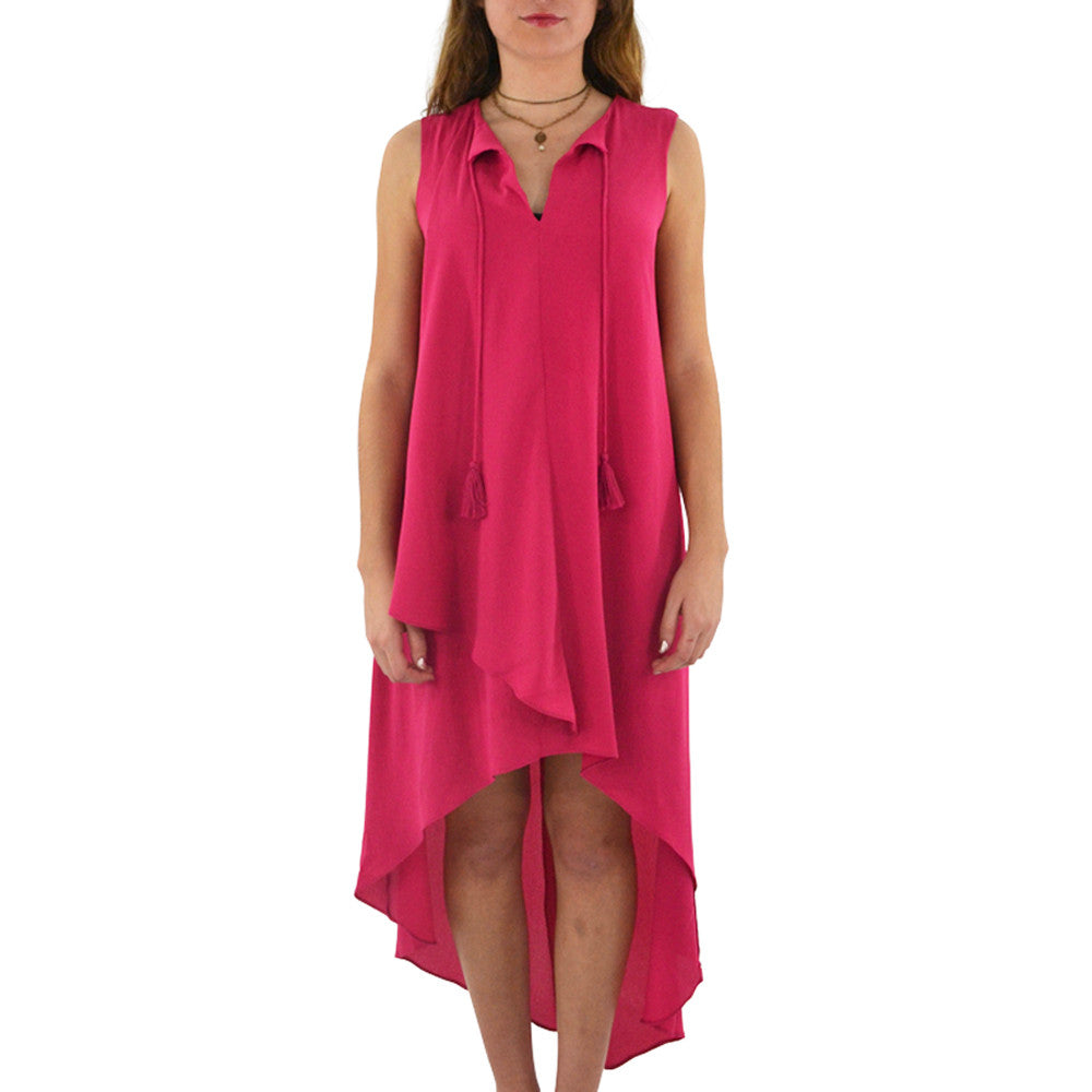 Womens Catherine Kate Hi Low Drawstring Dress in Berry - Brother's on the Boulevard