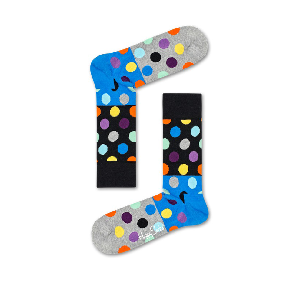 Mens Happy Socks Big Dot Block Sock in Light Grey - Brother's on the Boulevard
