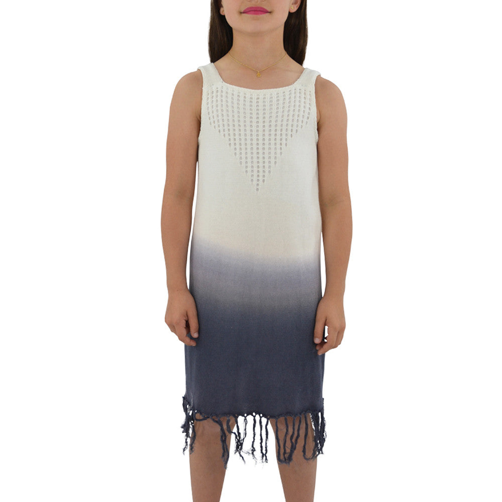 Weekend Vibes Girls Crochet Fringe Dress in Blue Ombre