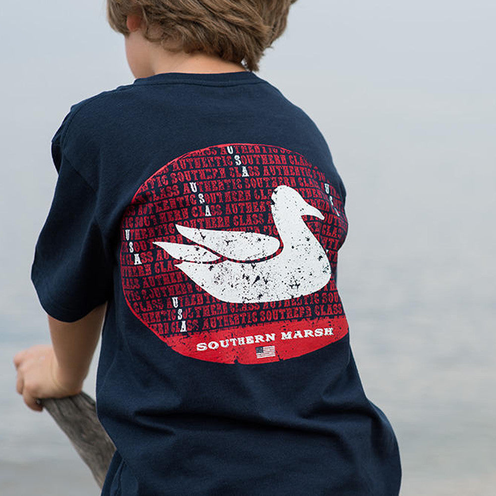 Southern Marsh Youth America Tee in Navy