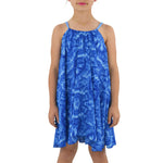 Weekend Vibes Girls Trapeze Dress in Blue
