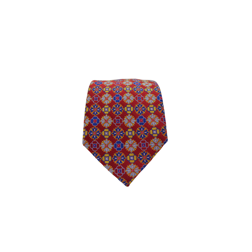 Mens Brother's On The Boulevard Handmade Necktie in Red, Blue, and Yellow - Brother's on the Boulevard