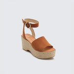 Dolce Vita Lesly Buckle Clasp Suede Wedge in Saddle